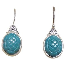 Hand Carved Turquoise Sterling Silver Earrings