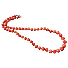 "Vintage Italian Coral Necklace 14k Gold Clasp 20"" Length 38.3 Grams"