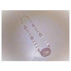 Vintage 1920's Chinese Art Deco Rock Crystal Rose Quartz Shou Carved Necklace