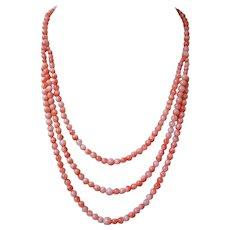 Vintage 1970's Coral Triple Strand Necklace 14k Clasp