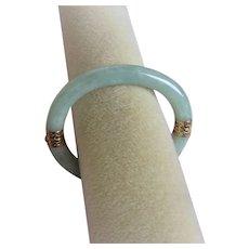 Vintage Chinese 14k Translucent Green Jadeite Bracelet