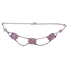Art Deco 1920's Chinese Rose Quartz Sterling Silver Necklace Choker