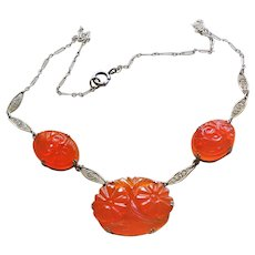 Vintage Chinese Art Deco Carved Carnelian Gold Vermeil Necklace
