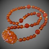Chinese 1920's Art Deco 14k Carved Carnelian Shou Beads Necklace