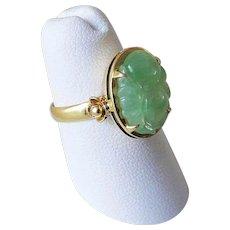 Vintage 1960's Translucent Icy Apple Green Jadeite 14k Ring Size 6