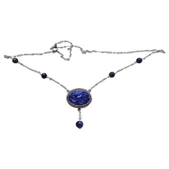 Antique 1890's Chinese Qing Dynasty Carved Lapis Lazuli Seed Pearls Sterling Necklace