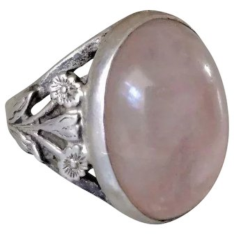 Vintage  Chinese 1960's Rose Quartz Sterling Silver Ring Size 5.75 - 6