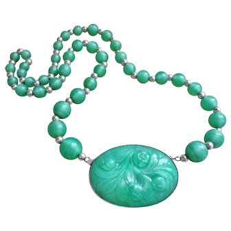 Vintage 1920's Chinese Art Deco Peking Glass Carved Sterling Necklace