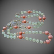 """Chinese Qing Mutton Fat Jade Devil's Work Apricot Aventurine Jade Necklace 34.5 """" Long"""