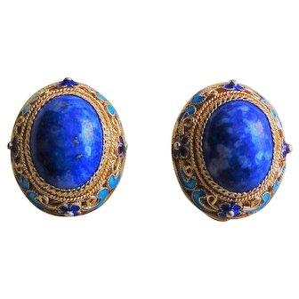 Chinese Export Art Deco Lapis Lazuli Enamel Gold Vermeil Filigree Earrings