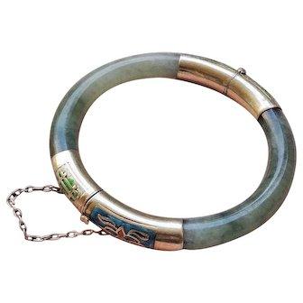Antique Chinese Qing Dynasty Gilded Sterling Enamel Translucent Green Jadeite Bracelet