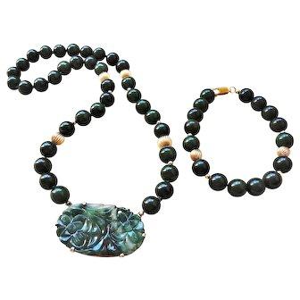 Chinese 1920's Art Deco 14k Dark Green Jade Necklace Bracelet Set