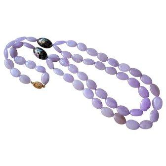 Translucent Lavender Jadeite Cloisonne 2 Strand Necklace Filigree Clasp