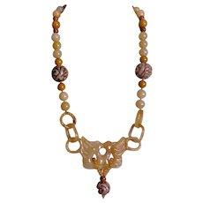 Chinese Carved Yellow Jadeite Devil's Work Phoenix Necklace Gold Vermeil Clasp