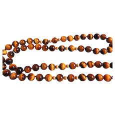 """Vintage Chinese 1960's  14k Gold Tiger's Eye Necklace 32"""" Length"""