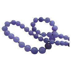 Vintage Chinese Lavender Jadeite Shou Carved Necklace