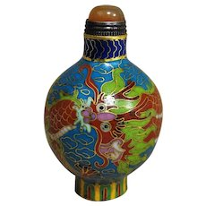 Vintage Chinese 1900's Dragon Cloisonne Snuff Bottle Carnelian Cap Spoon