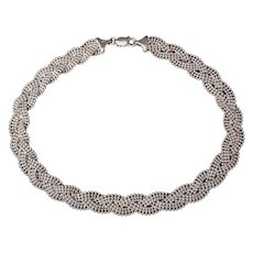 Vintage Italian Sterling Silver Plaited Choker Necklace