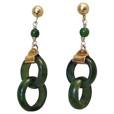 Vintage 1960's Chinese Devil's Work Jade Gold Vermeil Earrings