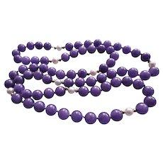 """Vintage 14k Lavender Jadeite Cultured Pearl Necklace 30"""" Length"""