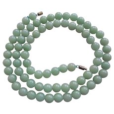 Antique 1880-1920  Mint Green Aventurine Necklace  26.5 Inches Length