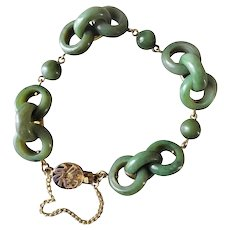 Vintage 1970's Chinese Devil's Work Green Jade Bracelet Gold Vermeil Clasp