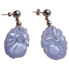 Art Deco Chinese Hand Carved 14k Lavender Jadeite Earrings