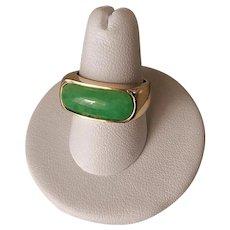 Apple Green Translucent Jadeite 14k Gold Saddle Ring Size 7.75