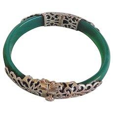 Vintage Green Agate Silver Gilt Bracelet