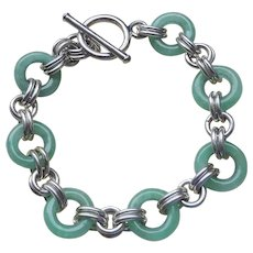 """Vintage  Chinese Translucent Apple Green Jadeite Sterling Bracelet 7.5"""" Length"""