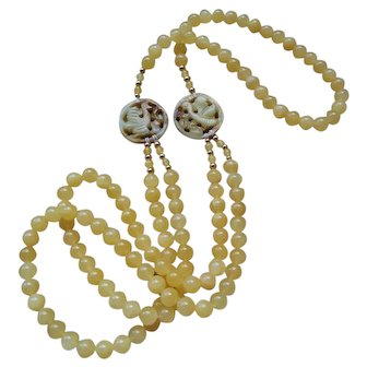 Hand Carved Jade Medallions Yellow Jadeite 2 Strand Necklace