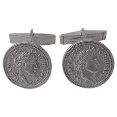 Vintage 1940 - 1968 Italian Sterling Silver Cuff Links
