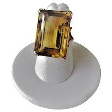 Vintage 1960's 18.4 Carats Step Cut Octagonal Golden Topaz 9ct Gold Ring Size 6.5