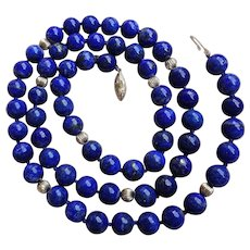 "Vintage 14k Royal Blue Lapis Lazuli Necklace 30"" Length"