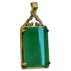 Vintage 1900's Chinese Translucent Chrysoprase Gold Gilt Pendant