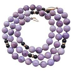 "Lavender Jadeite Black Onyx 14k Gold Necklace 28 "" Length"
