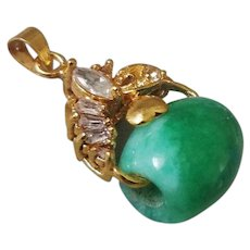 Vintage 1900's Chinese Translucent Apple Green Jadeite Gold Gilt Pendant