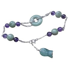 Vintage Chinese Art Deco Jadeite Amethyst Sterling Bracelet
