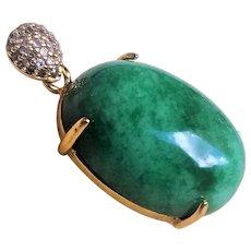 Vintage 1900's Gold Gilt Emerald Green Jadeite Pendant