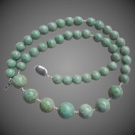 "Apple Green Jade Sterling Silver Graduating Necklace 22"" Length"