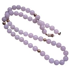 Vintage Chinese 14k Translucent Pale Lavender Jadeite Necklace