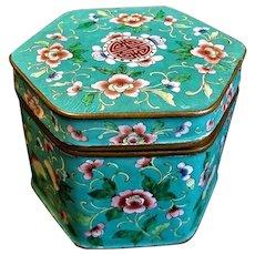 Antique 19thC. Chinese Export Enamel Canton Tea Caddy
