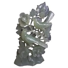 Vintage Chinese Translucent Hand Carved Green Jade Birds Among Flowers Statue
