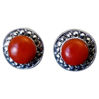 Antique Edwardian Ox Blood Red Coral Marcasite Sterling Silver Earrings