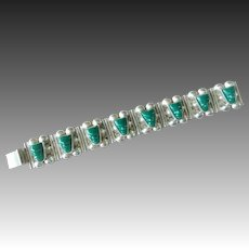 """Vintage 1940's Taxco Mexico Green Onyx Sterling Silver 7"""" Bracelet"""