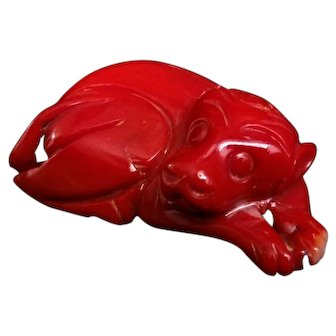 Antique Qing Dynasty Carved Dark Red Coral Dog Figurine