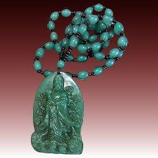Vintage 1900's Chinese Apple Green Peking Glass Kwan Yin Pendant Necklace