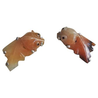 Vintage  Early 1900's Chinese Hand Carved Jadeite Goldfish Sterling Earrings