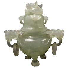 Vintage 1900's Chinese Hand Carved Translucent Jade Dragon Censor