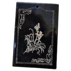 Chinese Black Nephrite Jade Poem Zigang Pendant